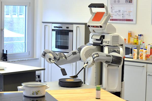 パンケーキをひっくり返すPR2ロボット