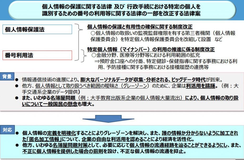 個人情報保護法改正案の概要の一部